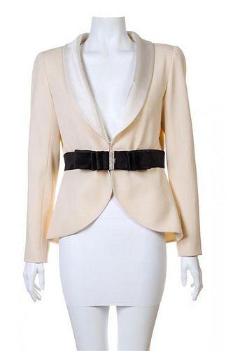 A Valentino Cream Wool Tuxedo Peplum Jacket, Size 10.