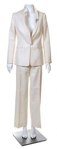 A Valentino Cream Pant Suit, Jacket size 6.
