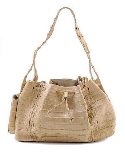 "A Nancy Gonzalez Cream Crocodile Handbag, 12"" x 7.5"" x 4""; Strap drop: 8""."