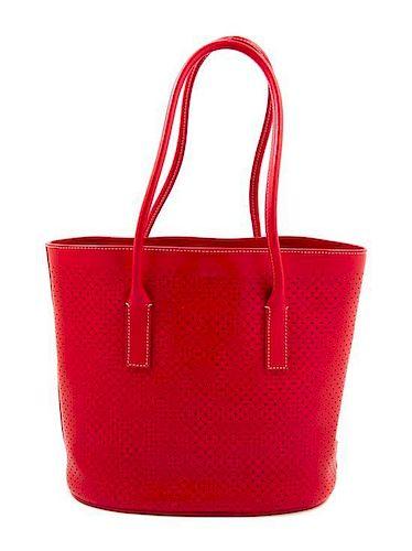 b053c73c64 A Prada Red Leather Perforated Tote Bag, 11