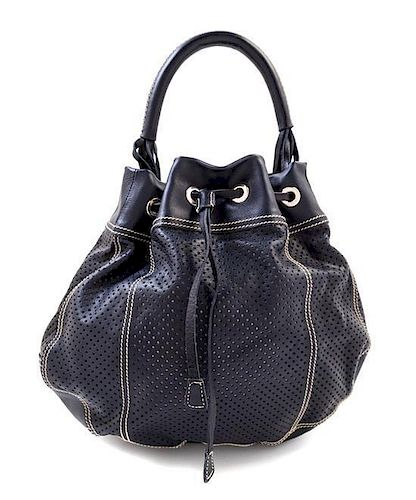A Prada Navy Perforated Leather Bucket Bag b819805c1aa36