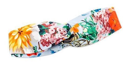 "A Gucci Silk Floral Print Headband, Circumference: 21.5"""