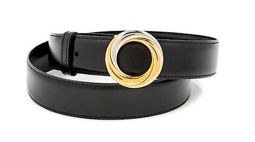 A Cartier Black Leather Belt,