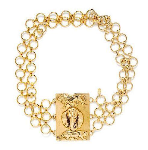 "A Christian Dior Goldtone Animal Motif Belt, 29""; Buckle: 2.75"" x 3.75"""