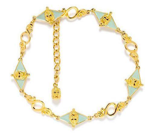 """* A Gianni Versace Vintage Goldtone Link Belt, 36.5"""" x 1.5""""."""