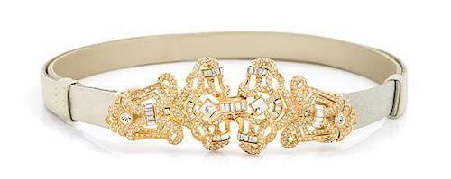 A Judith Leiber Metallic Thin Belt,