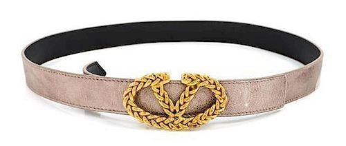 A Valentino Bronze Metallic Belt, Size 90.