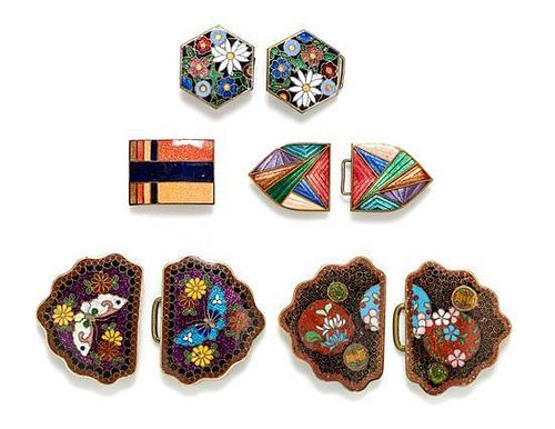 A Group of Four Cloisonne and Enamel Belt Buckles,