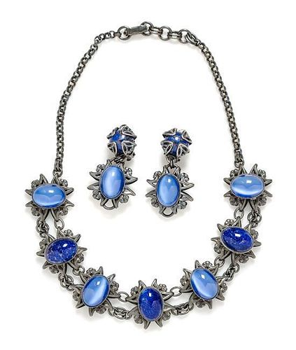 """A Jean-Louis Blin Metal Necklace and Earclip Set, Necklace: 17"""" length; Earclip:n 2"""" x 1""""."""