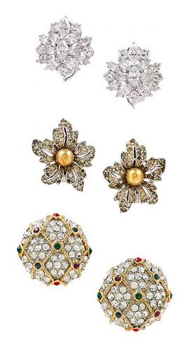 A Group of of Rhinestone Earclips,