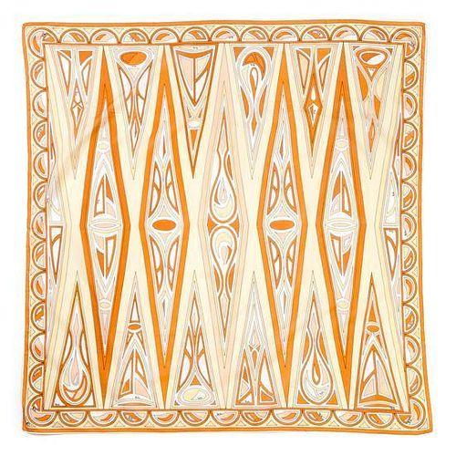 "A Pucci Orange & Yellow Scarf, 34.5"" x 35""."