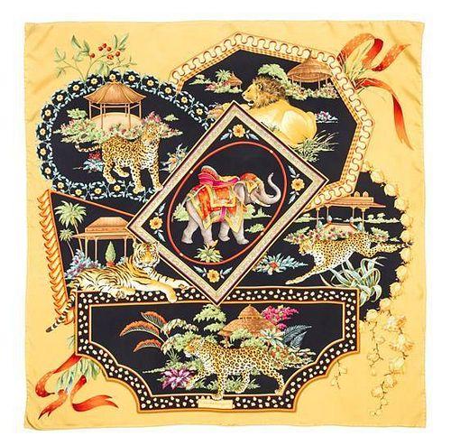 """A Ferragamo 90cm Gold Silk Animal Print Scarf, 36"""" x 36""""."""