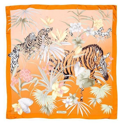 "A Ferragamo 90cm Burnt Orange Silk Zebra Print Scarf, 36"" x 36""."