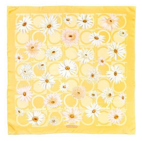"""* A Ferragamo 90cm Yellow Floral Print Silk Scarf, 36"""" x 36""""."""