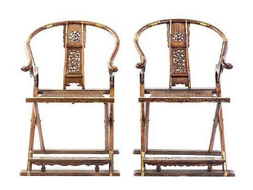 Amazing A Pair Of Huanghuali Folding Chairs Height 41 3 4 X Width Evergreenethics Interior Chair Design Evergreenethicsorg