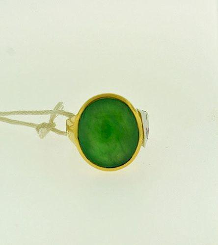 14K Gents Jadeite Jade Ring