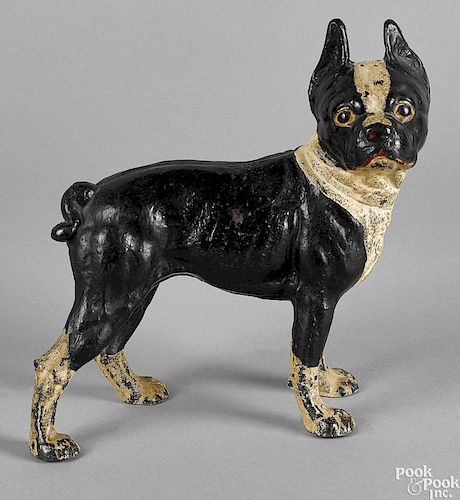 Painted Cast Iron Boston Terrier Doorstop By Pook Pook Inc