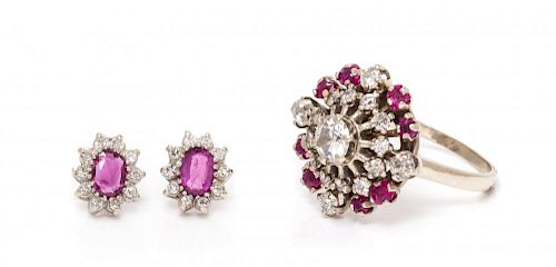 A Collection of 14 Karat White Gold, Ruby and Diamond Jewelry, 7.15 dwts.