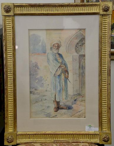 """T Dentz, watercolor on paper of Middle Eastern man with sword, signed lower right: T. Dentz 1900, sight size: 15 1/4"""" x 9 1/2"""