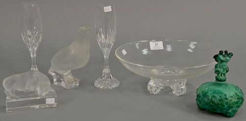 Group of Lalique quail, Lalique clear and frosted glass bull, pair of Baccarat stems, Steuben footed bowl (ht. 4in., dia. 10