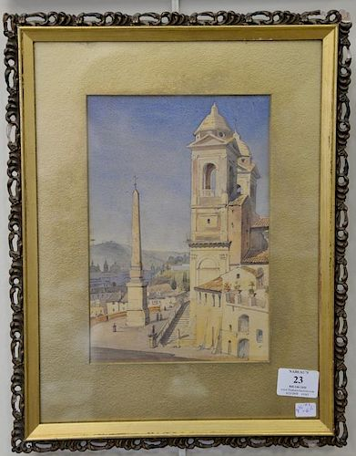 Two Venetian town watercolors including one by Augustus William Hare (1792-1834), Giorgio-Rome, signed and titled on verso (s