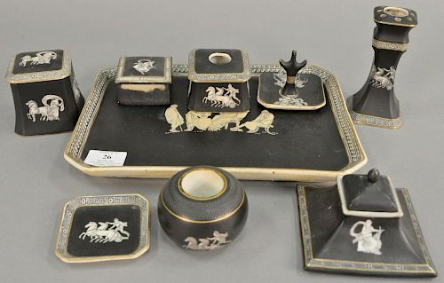 "Nine piece Fenton and Pratt old Greek dresser set to include tray (8 1/2"" x 11 1/2"") hairpin holder, inkwell, ring holder, tw"