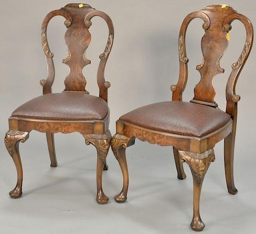 Pair of Smith & Watson George I style burlwood side chairs, late 20th century. ht. 37 1/2in.