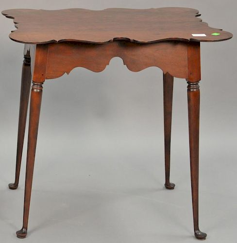 "Custom cherry Queen Anne style tea table with shaped porringer top, pencil signed under top. ht. 27 in., top: 21 1/2"" x 27"""