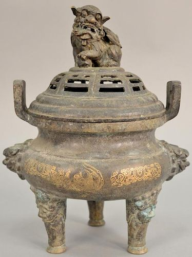 Chinese bronze censer with inlaid case on three feet with foo dog cover. ht. 16 in.
