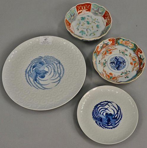 Twenty-two piece lot of group of Chinese porcelain to include a set of seven Imari phoenix bird dishes having four character