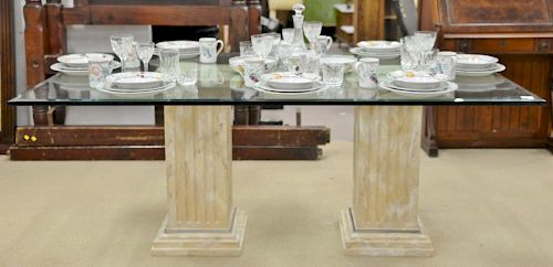 """Glass top dining table with two faux painted square pedestals, bevel edge (table only). ht. 29 in., top: 44"""" x 72"""""""