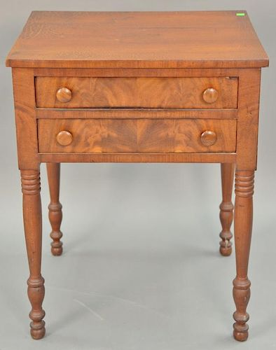 """Sheraton two drawer stand, circa 1830. ht. 28 1/2 in., top: 20 1/2"""" x 23"""""""