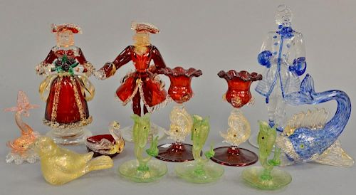Murano art glass group to include three figures, pair of candlesticks with fish stems, three small fish candlesticks, etc. ht