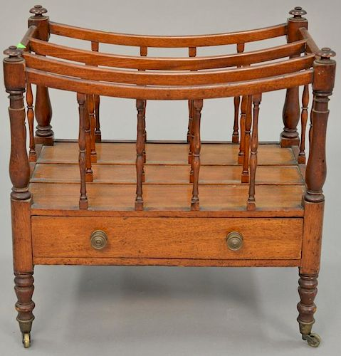 George III mahogany canterbury with drawer. ht. 20 in., wd. 20 in.   Provenance: The Estate of Thomas F Hodgman of Fairfield,