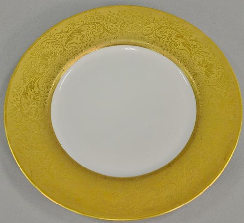 Set of twelve Czechoslovakia Epiag porcelain dinner plates with gold rim and bottom. dia. 10 1/2 in.   Provenance: The Estate