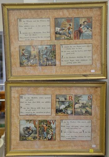 "Set of six Victorian framed Alphabet poems with all 26 letters. sight size 13 1/2"" x 19""."