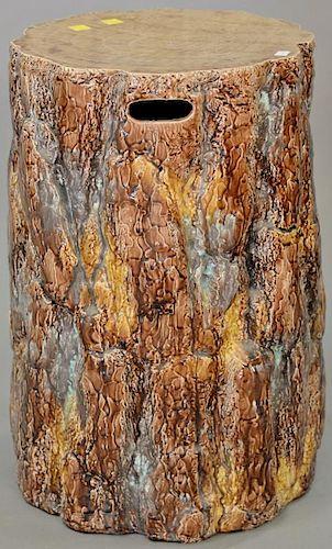 Majolica tree trunk garden seat. ht. 20 in.  Provenance: From the Estate of Faith K. Tiberio of Sherborn, Massachusetts