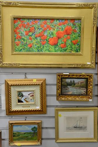 Group of six framed items to include Carl Andrew Schaad (1946-2011), oil on canvas of flowers; Pardi, oil on board river land