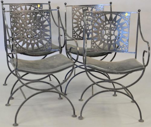 Set of four iron armchairs.  Provenance: From the Estate of Faith K. Tiberio of Sherborn, Massachusetts