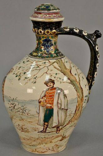 Fischer Budapest ewer Hungarian vase with painted figures in landscape (drilled, no finial). ht. 13 1/2in.