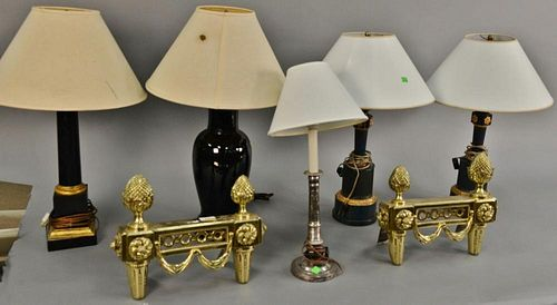 Group of five table lamps, hts. 21in. to 26in., and pair of brass chenets (one lamp as is). ht. 12in., wd. 15in.   Provenance
