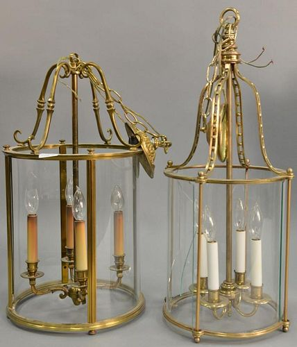 Two large brass and glass hanging lights, each with four lights and round shade (one as is three glass panels missing). ht. 2