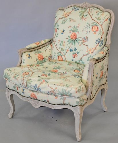 Louis XV style bergere with custom upholstery.   Provenance: The Estate of Thomas F Hodgman of Fairfield, Connecticut