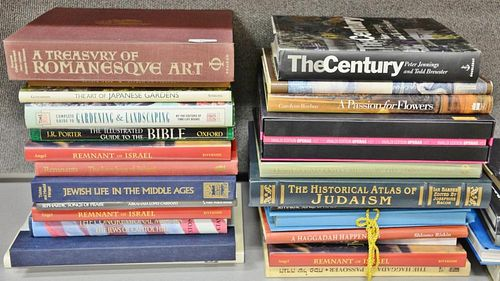 Thirty coffee table books, mostly Israeli/Hebrew themed along with miscellaneous coffee table books.