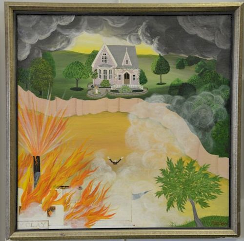 Barbara Bustetter Falk (20th century), oil on canvas, Victorian house with burning paddle boat, signed lower right: Barbara B