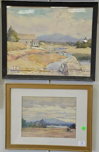 Four Charles Richert (1880-1974) watercolors including landscape, seascape, landscape with marsh, and river's edge. sight siz