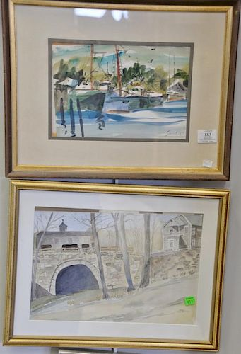 Group of eight framed watercolor and oil paintings including Laughlin watercolor seascape, two watercolors signed Maja, water