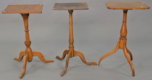 Three Federal candle stands. ht. 26 1/4 in., 27 in., & 27 in.  Provenance: From the Estate of Faith K. Tiberio of Sherborn, M