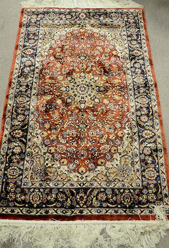 Kashan silk Oriental throw rug. 3' x 5'