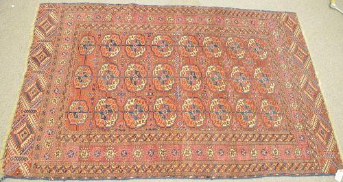 "Bokhara Oriental throw rug, early 20th century. 3'9"" x 5'8"""